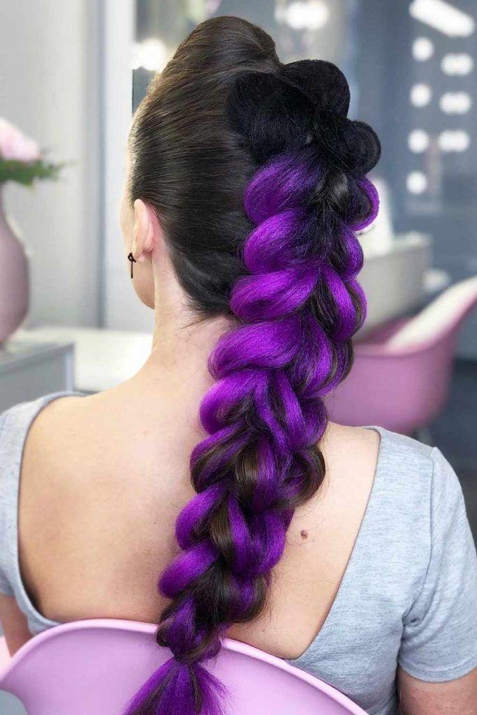 Dutch Braids for Dark Purple Hair #braidedhairstyles #purplehair