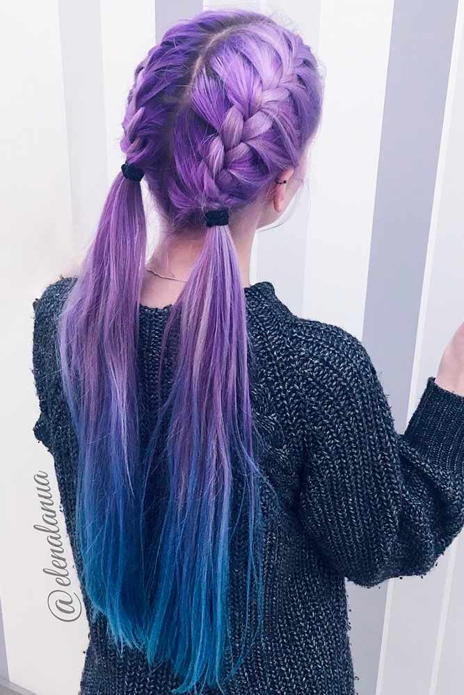Ponytails and Dutch Braids for Purple Hair picture1