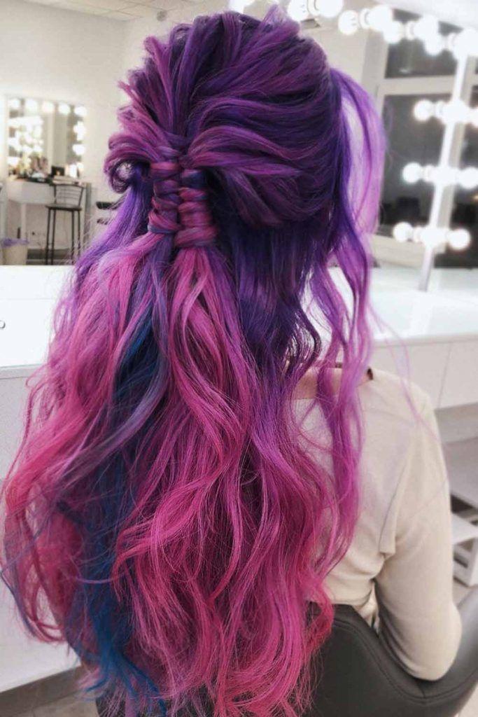 Let Your Beauty Purple Hair Down #braidedhairstyles #purplehair