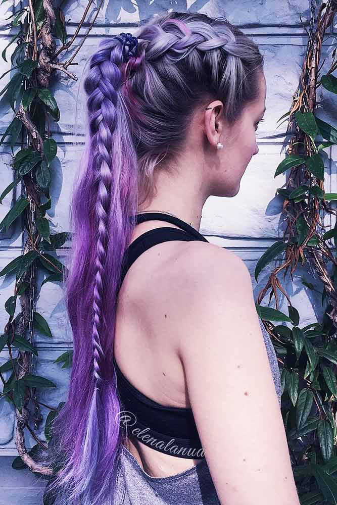 Ponytails and Dutch Braids for Purple Hair picture2