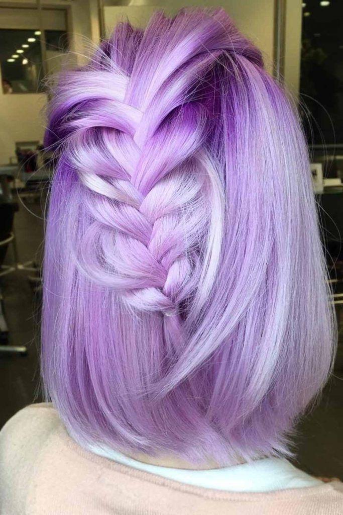 Braided Half Up Half Down For Short Hairstyles #braidedhairstyles #purplehair