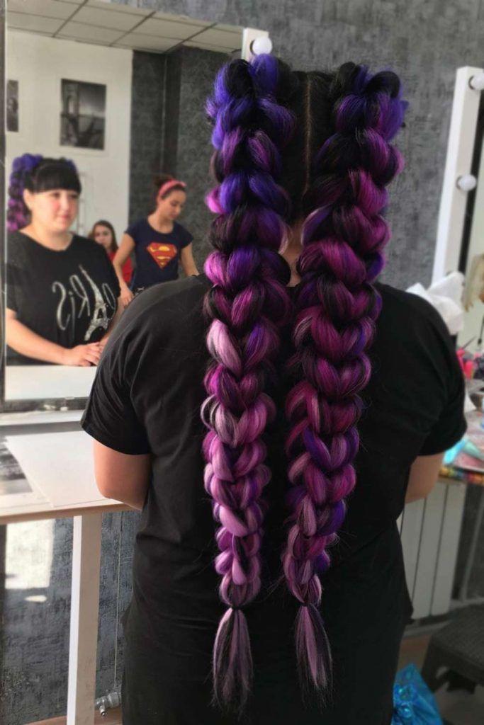 Braids for Purple Long Hair #braidedhairstyles #purplehair