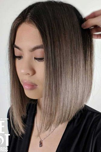 Dark Color Bob Hairstyles With Ombre #bluntbob #bobhaircut #haircuts