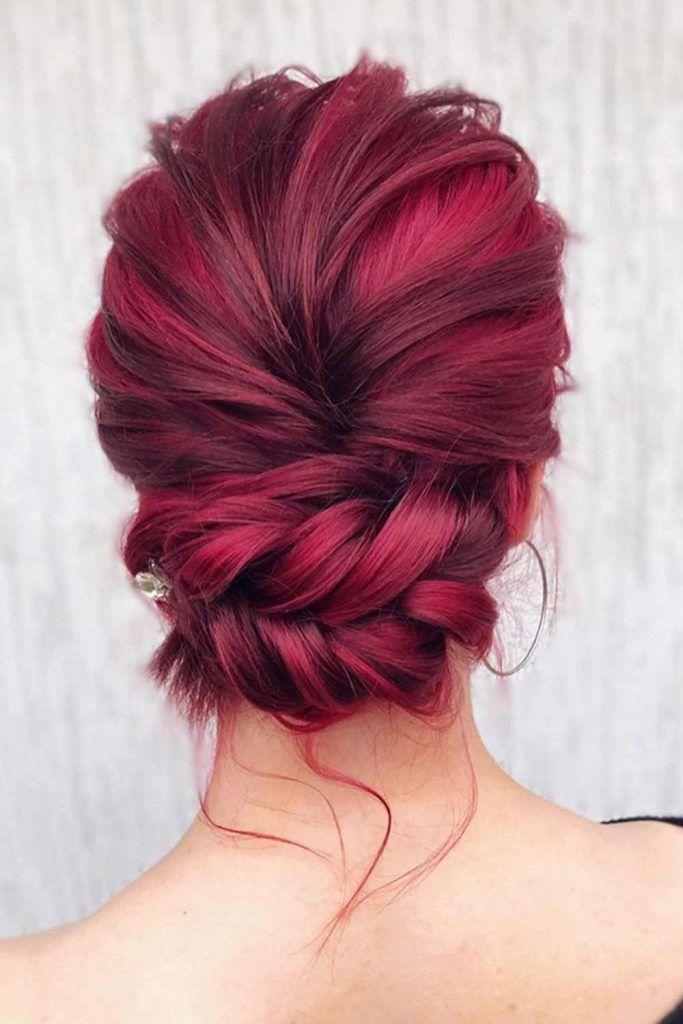 Bright Colorful Updos #burgundyhair #easyhairstyles