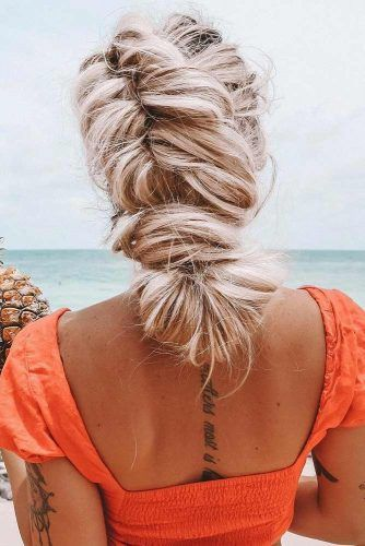 Lovely Braided Bun Hairstyle #updo #bun #braids