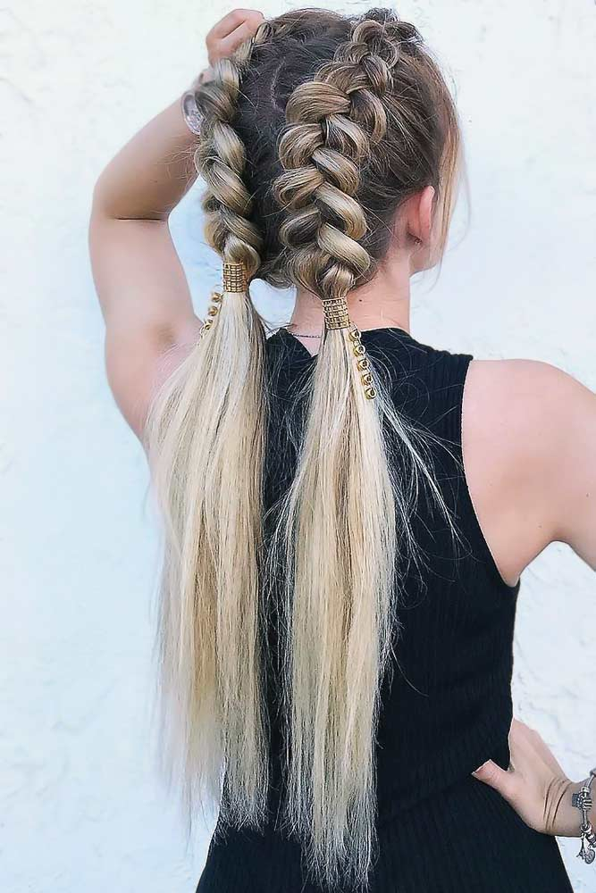 Charming Double Braided Updo For Thin Hair #updo #longhair