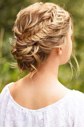 Fishtail Braid Into Bun Hairstyle #bun #updo #braids