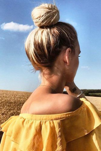 Simple And Cute Bun Updo #updo #bun #longhair