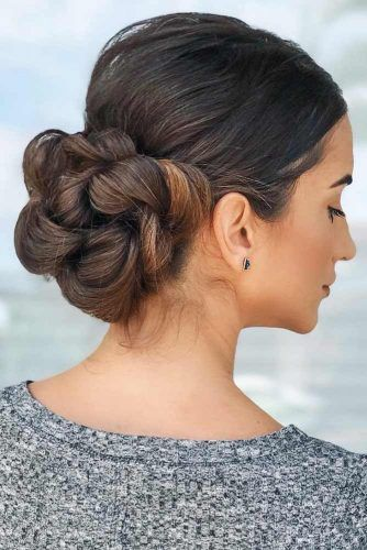 Twisted Braid Into Low Bun For Thick Hair #updo #braids #bun