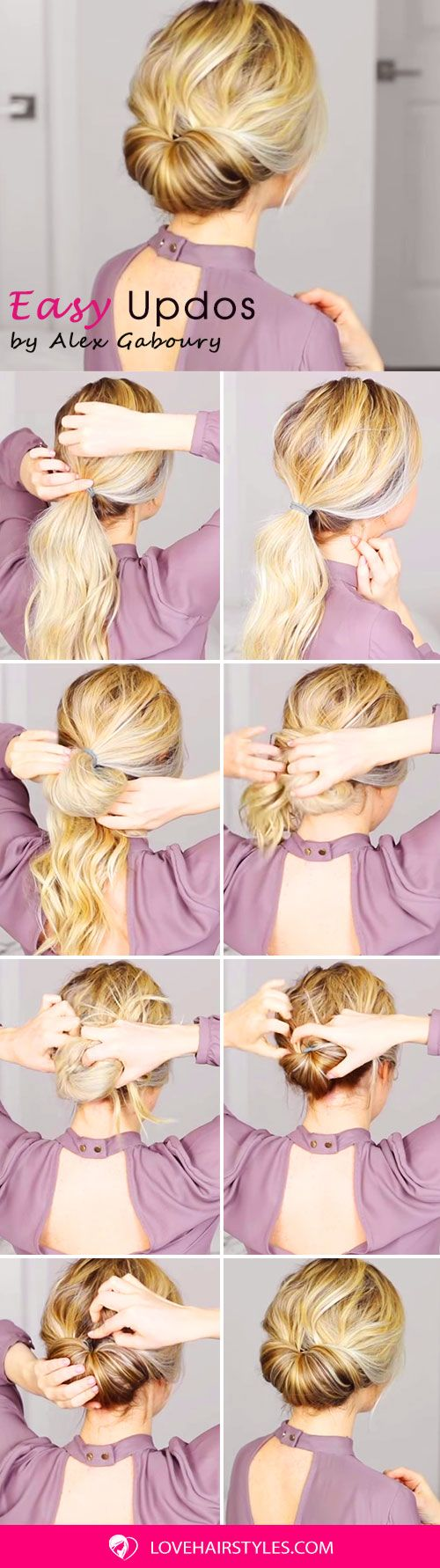 How To: Beautiful And Super Simple Updo For Long Hair #updo #bun #hairtutorial