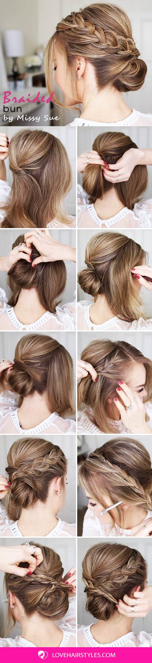 How To: Double Braid Wrapped Roll Bun #updo #bun #braids #hairtutorials