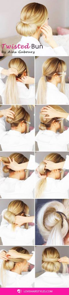 How To: Easy And Elegant Twisted Bun Hairstyle #updo #bun #hairtutorial