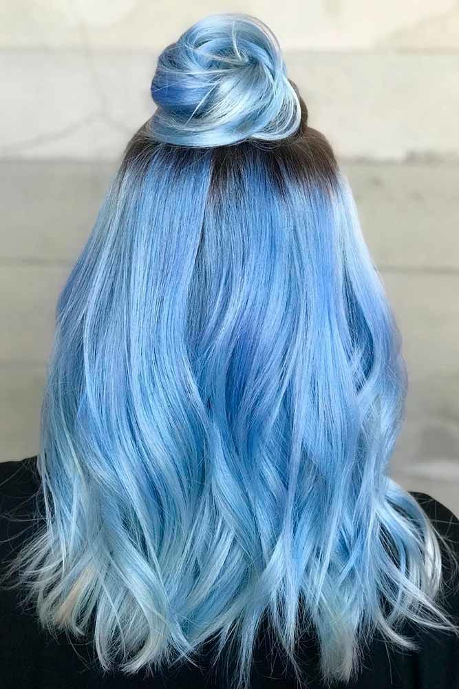 Top Knots For Medium Hair Length Blue #mediumhair #updos