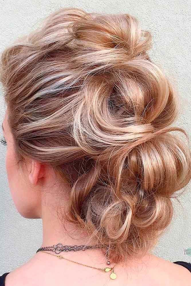 Hawk Into Low Bun For Medium Length Hair Reddish #mediumhair #updos