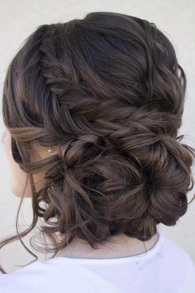 Beautiful Messy Updos With Side Braids Brown #mediumhair #updos