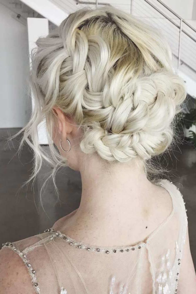 Beautiful Messy Updos With Side Braids Blonde #mediumhair #updos