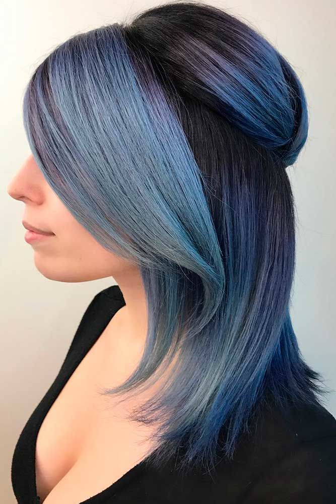 Half-Up Half-Down For Medium Length Hair Blue #mediumhair #updos