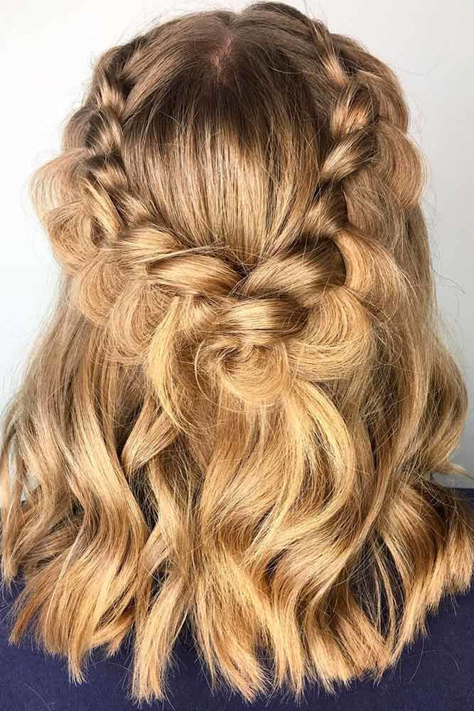 Half-Up Half-Down For Medium Length Hair Braids #mediumhair #updos