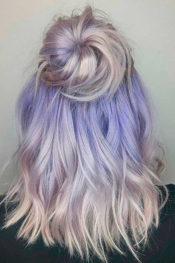 Top Knots For Medium Hair Length Lavender #mediumhair #updos
