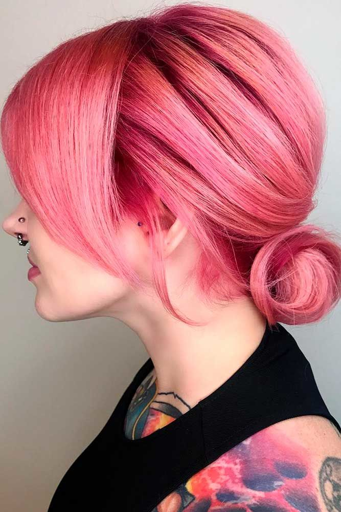 Low Twisted Buns Pink #mediumhair #updos