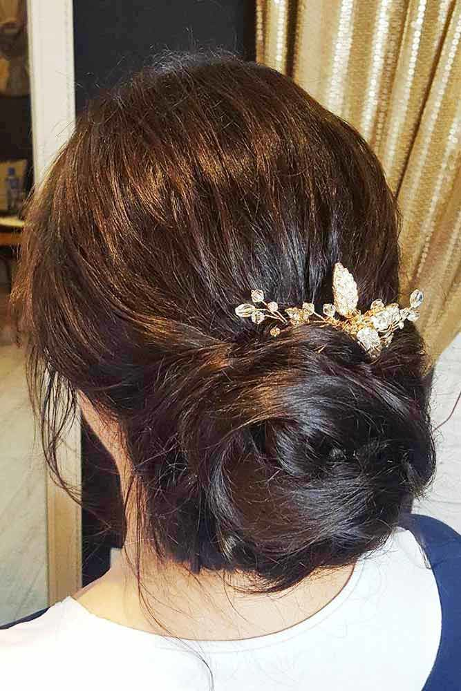 Low Updos With Accessories Bun #mediumhair #updos