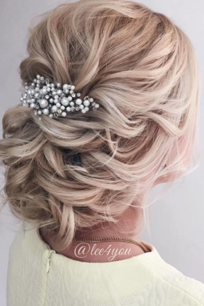 Low Updos With Accessories Messy #mediumhair #updos