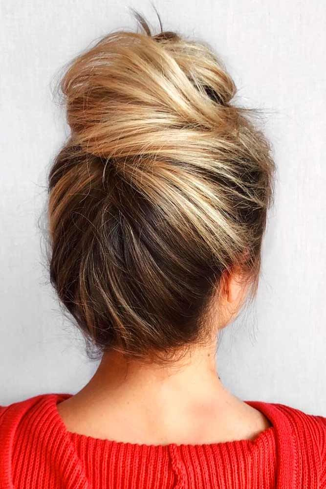 High Buns For Medium Hair Balayage #mediumhair #updos