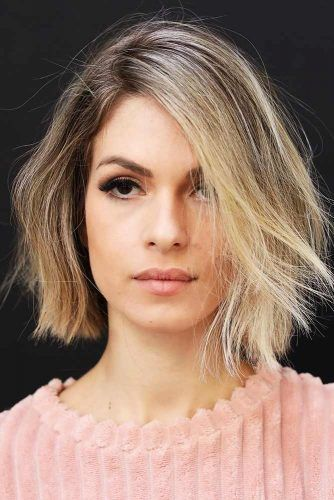 Blunt Messy Short Hairstyles For Fine Hair #bob #blunthair