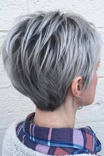 Silver Stacked Pixie #pixiecut #shorthaircuts #shorthairstyles #silverhair