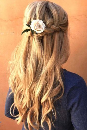 Long Half-Up French Braid Hairstyles #braids #halfup