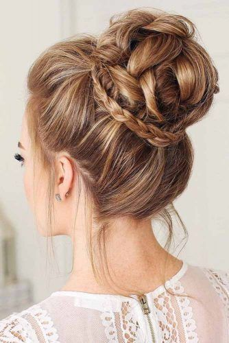 Braided High Bun Hairstyles #updo #braids #bun