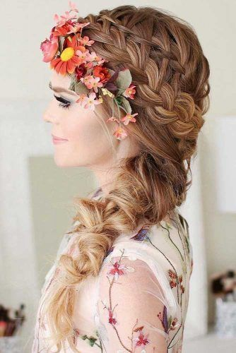 French Braids Hairstyles With Flowers #braids