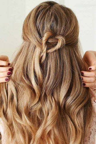 Long Wavy Half-Up Hairstyles #halfup
