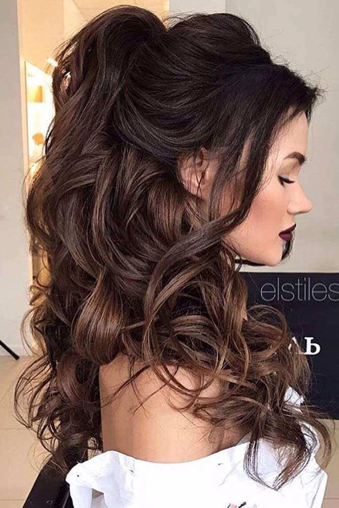 Chic Half Up Bridesmaid Hairstyles For Long Hair Trubridal Wedding Blog