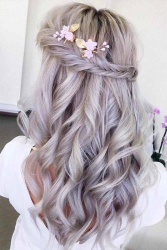 Wavy Braided Half Up Half Down Hairstyles #halfuphalfdownhairstyles #hairstyles #bridesmaidhairstyles #weddinghair #longhair