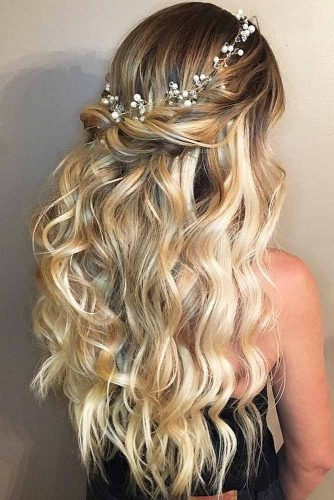 Headpiece Half Up Half Down Hairstyles With Accessories #halfuphalfdownhairstyles #hairstyles #bridesmaidhairstyles #weddinghair #longhair