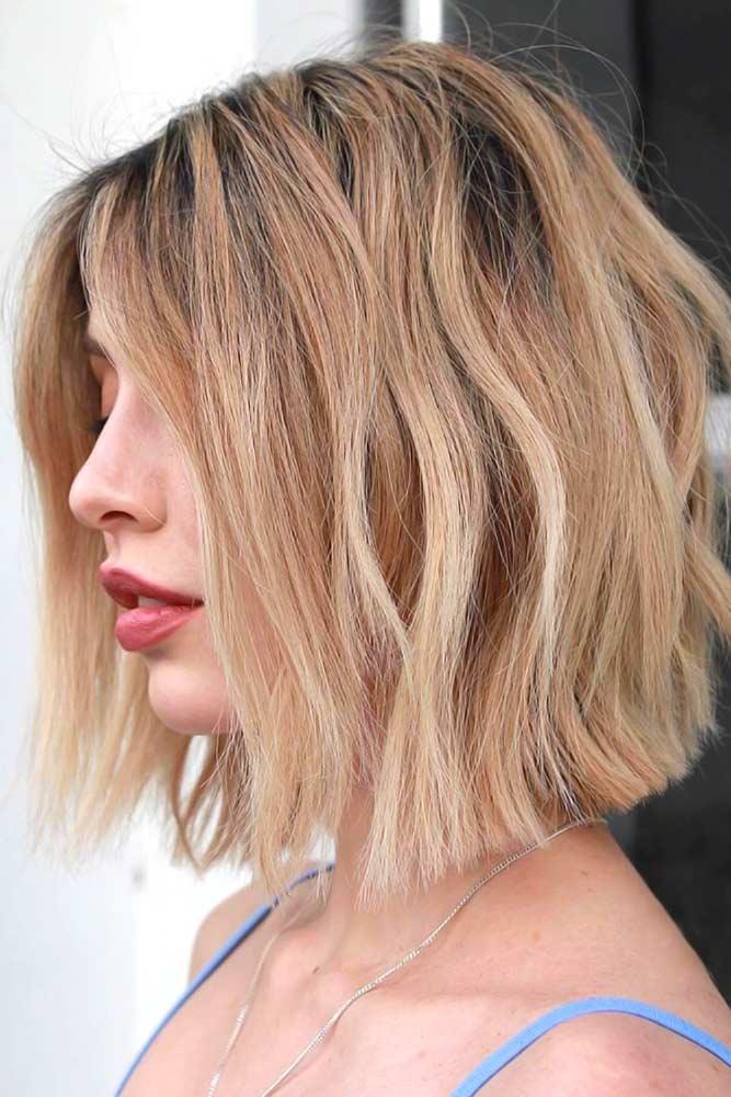 Balayage On Wavy Lob #thinhair #hairtypes