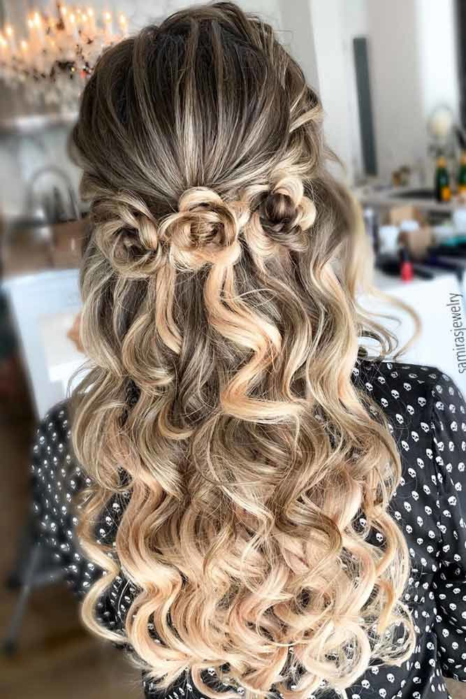 Floral Wavy Half Up With Balayage #thinhair #hairtypes
