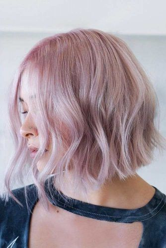 Middle Parted Pastel Pink Bob #thinhair #hairtypes