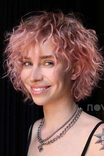 Rose Curly Layered Bob #layeredhaircuts #layeredhair #haircuts