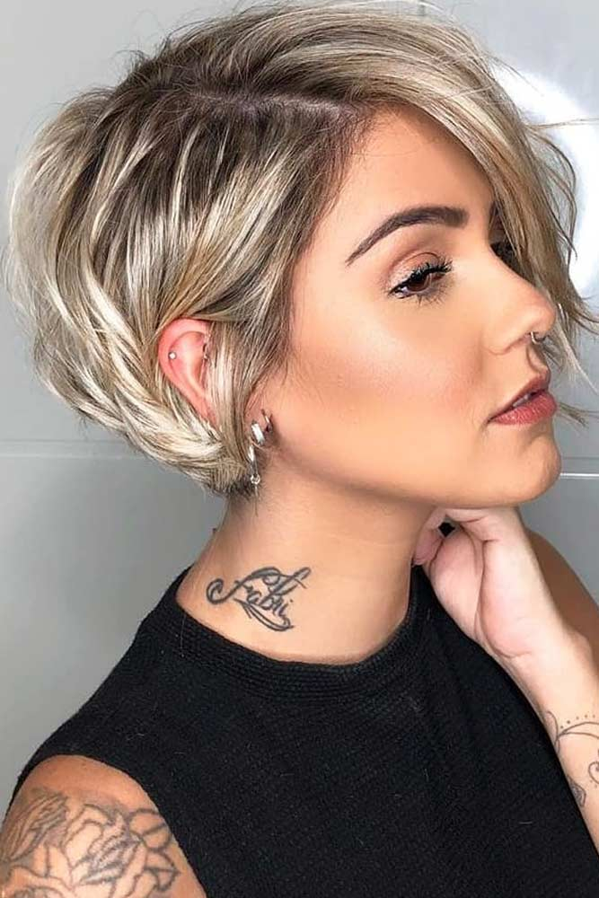 Side Parted Layered Pixie Bob #layeredhaircuts #layeredhair #haircuts
