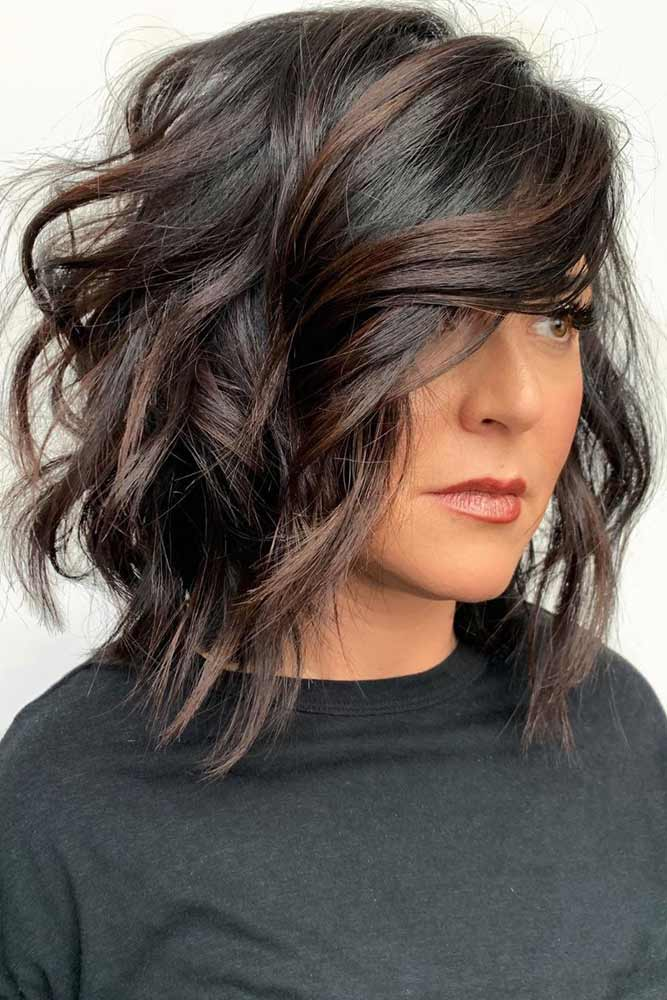Side Parted Layered Lob #layeredhaircuts #layeredhair #haircuts