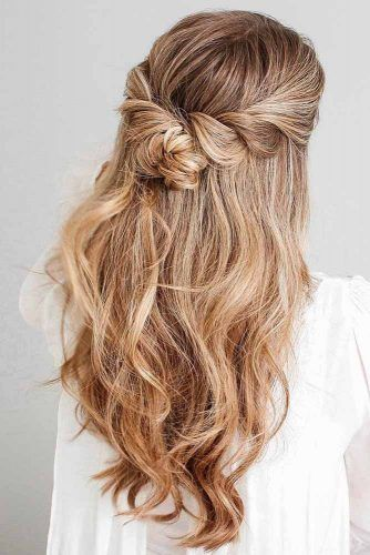 Half Up Half Down Long Hairstyles With Knots #halfup #knots