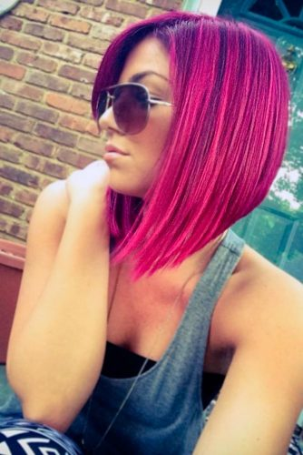 Bright Look with Magenta Hair Color picture 2