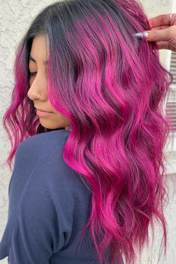 Purple Toned Magenta Waves #magentahair #redhair