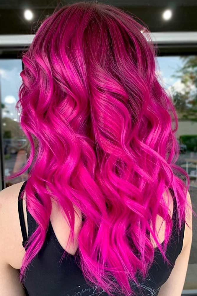 Pinkish Magenta Waves #magentahair #redhair
