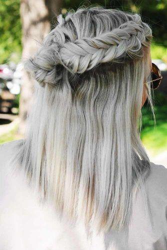 Half Up Half Down Bun Medium Hairstyles #braids #halfup