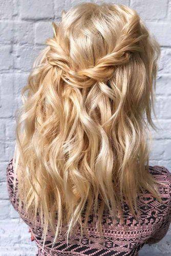 Half Up Half Down Medium Hairstyles Twisted #halfup