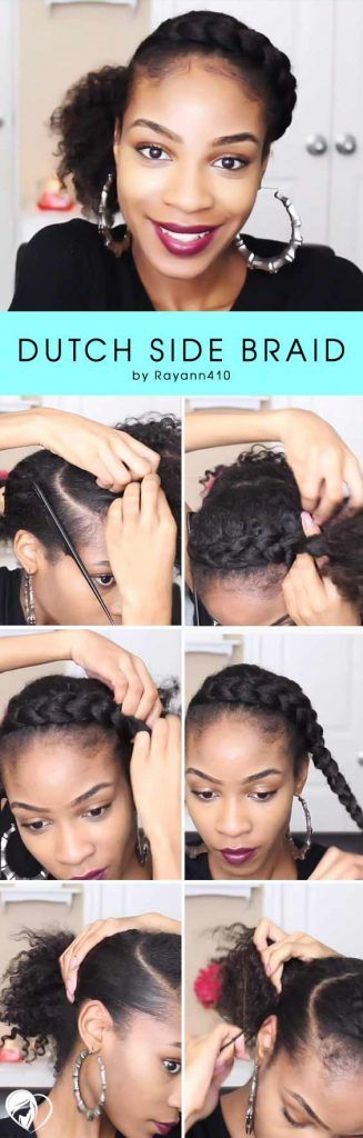 Natural Hairstyles With Side Braids #naturalhair #updo