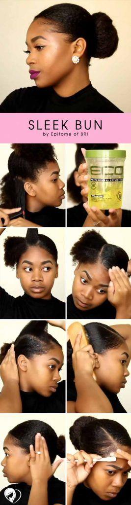 Sleek Updo For Natural Hair Tutorial #naturalhair #updo